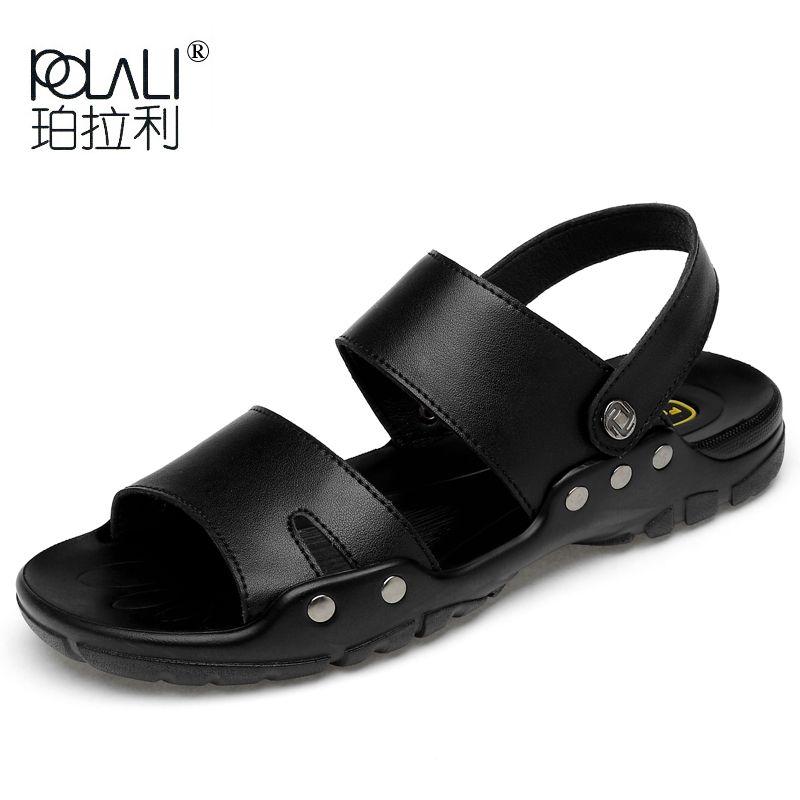 c6aa090eacf POLALI Leather Slippers Men 2019 Summer Quality Sandals Split ...