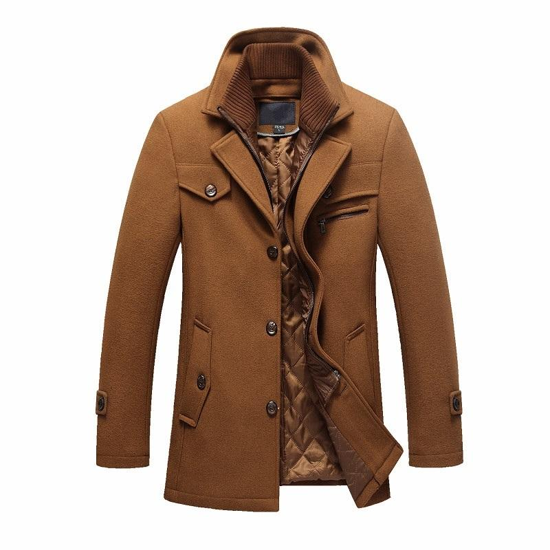 2af3d8b97609 New Winter Men's Woolen Coat Slim Fit Jackets Mens Business Casual ...