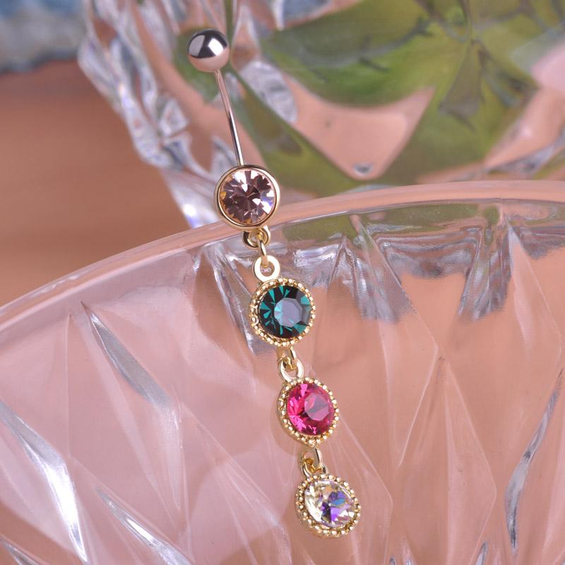 Four Color Mix Long Navel Bell Rings Gold-color Round Rhinestone Piercing Belly Button Rings For Women Body Piercing Nombril