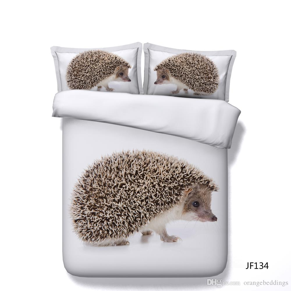 White Duvet Cover Set Hedgehog Animal 3 Piece Bedding Set With 2 Pillow Shams Kids Boys Girls Comforter Cover With Zipper No Comforter Bed