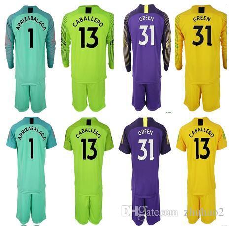 1bcd1bb90cf 2019 2019 Soccer Goalkeeper Uniforms Jersey Chel  1 ARRIZABALAGA  13  CABALLERO  31 GREEN HAZARD DAVID LUIZ Adult Men Soccer Shirt Goalie Kit  From Zhuhao2