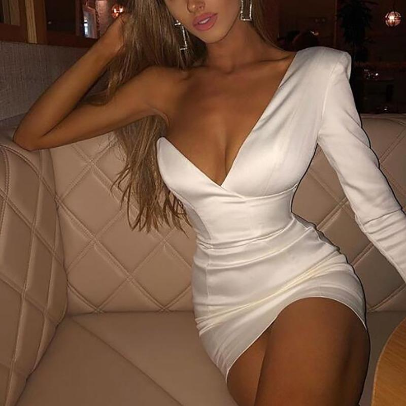 Fuedage One Shoulder Summer White Sexy Dress Women Deep V Backless Elegant Mini Bodycon Dress Club Nightclub Party Dresses