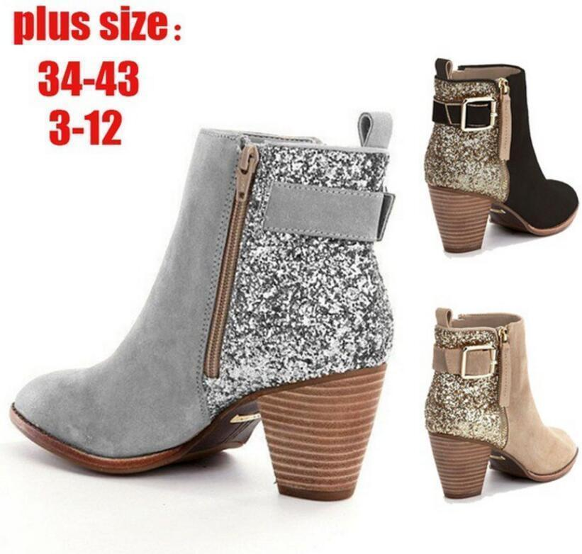 d3bbfa77618 Pop 2019 Sapato Feminino Women Ankle Boots Autumn Chunky High Heels Pump  Matin Shoes Woman Gladiator Chaussure Bling Shiny Booties