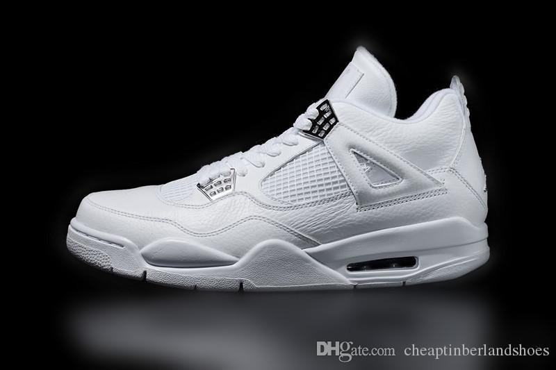 Pure white 4 4s Men Basketball Shoes Design Sense UNC OG light With Box Outlet On Sale