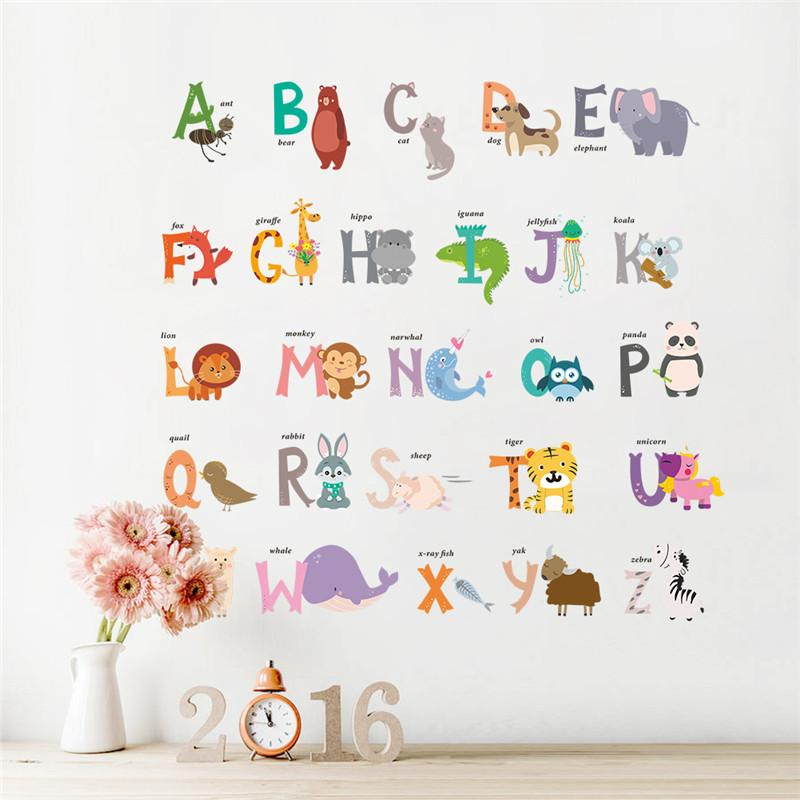 cartoon Jungle wild 26 letters alphabet animals wall stickers for kids rooms home decor children wall decal poster mural