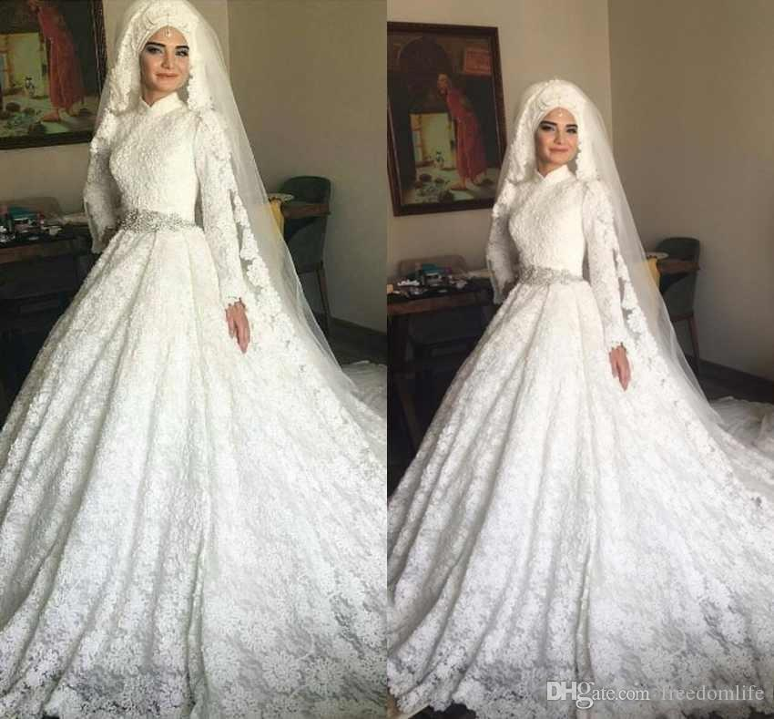 06139c187135 Discount Luxurious Arabic Dubai Muslim Wedding Dresses 2019 Long Sleeves  High Neck Lace Appliques Middle East Bridal Gowns Best Lace Wedding Dresses  Bride ...
