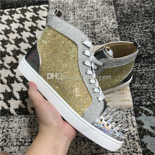 19s Marca Strass Shiny Patent Sneakers Shoes, High-top Spikes Pik Pik Zapatos inferiores rojos Hombres Mujeres Studs Casual Caminando con caja