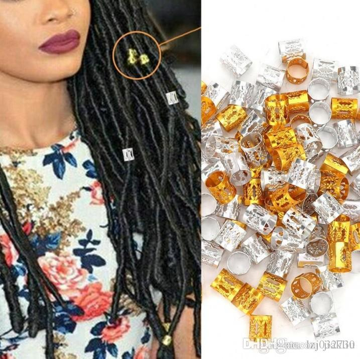 00pcs/lot Fashion Colorful Havana Mambo Link Rings Box Braid Hair Braids Cuff Clip Dreadlock 7.5mm hol Adjustable more colors Optional A413