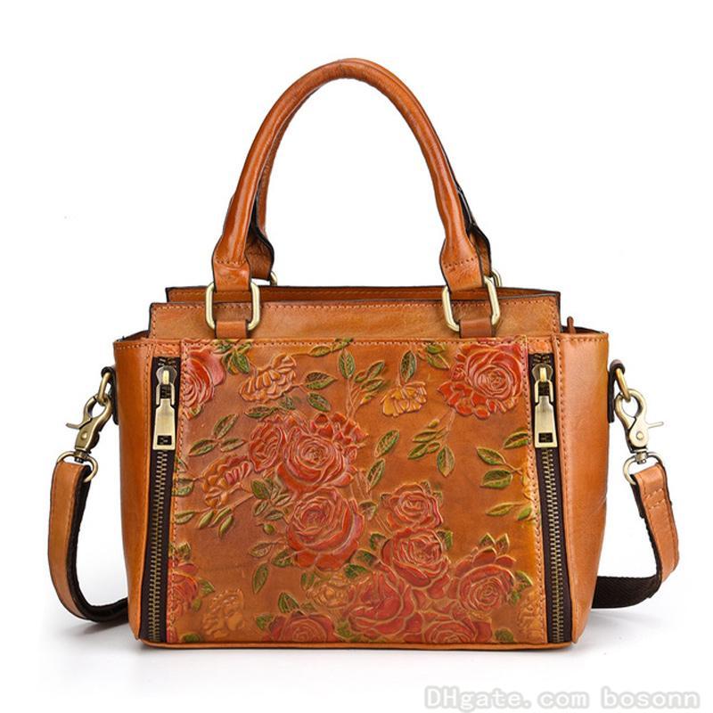 240de014323e 2019 Women s Vintage Leather Top Handle Satchel First Layer Cowhide ...