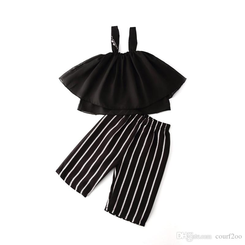 new style baby girls summer clothing sets 2pcs black harnesses +stripe pants kids cloth suits for toddler girl