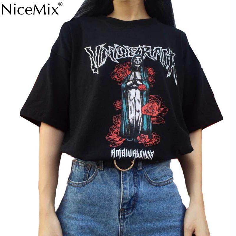 bc512e4f5cbe2b Nicemix Casual 2019 Summer T Shirt Women Tops Black Cotton Printed Half  Sleeve T Shirt Oversize Harajuku Tees Femme Y19042501 Funny Tshirt Metal T  Shirts ...