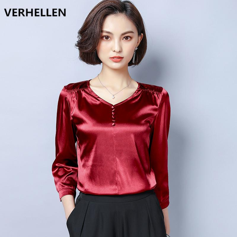 615ebbab29c6bb 2019 VERHELLEN Plus Size Imitate Real Silk Blouse Shirts 2019 Spring Women S  Long Sleeve Sexy V Neck Elegant Casual Blouses M XXXL From Victoriata