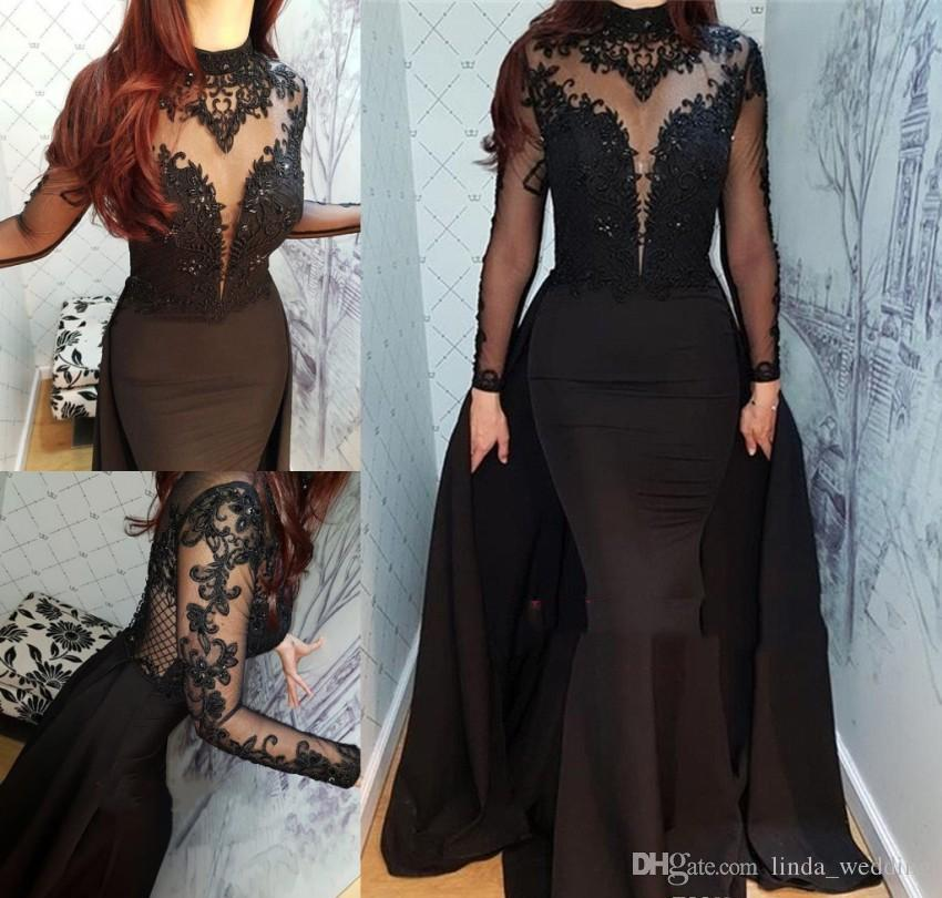 Long Sleeves Arabic Dubai Evening Dress 2019 Cheap Muslim High Neck Holiday  Women Wear Formal Party Prom Gown Custom Made Plus Size Gowns Dress Ivory  ... 84ff8656f190
