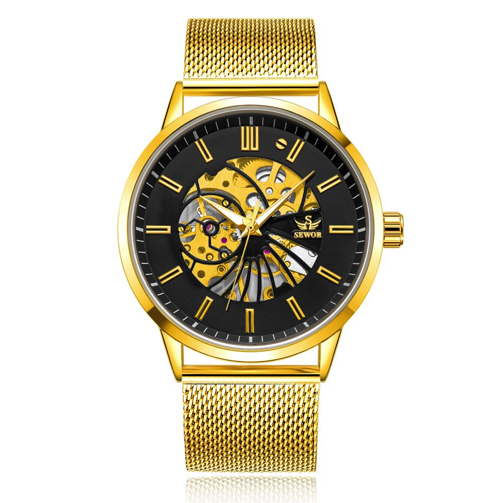 Mechanical Watches Classic Golden Skeleton Mechanical Watch Men Stainless Steel Strap Top Brand Luxury Man Watch Vip Drop Shipping Wholesale