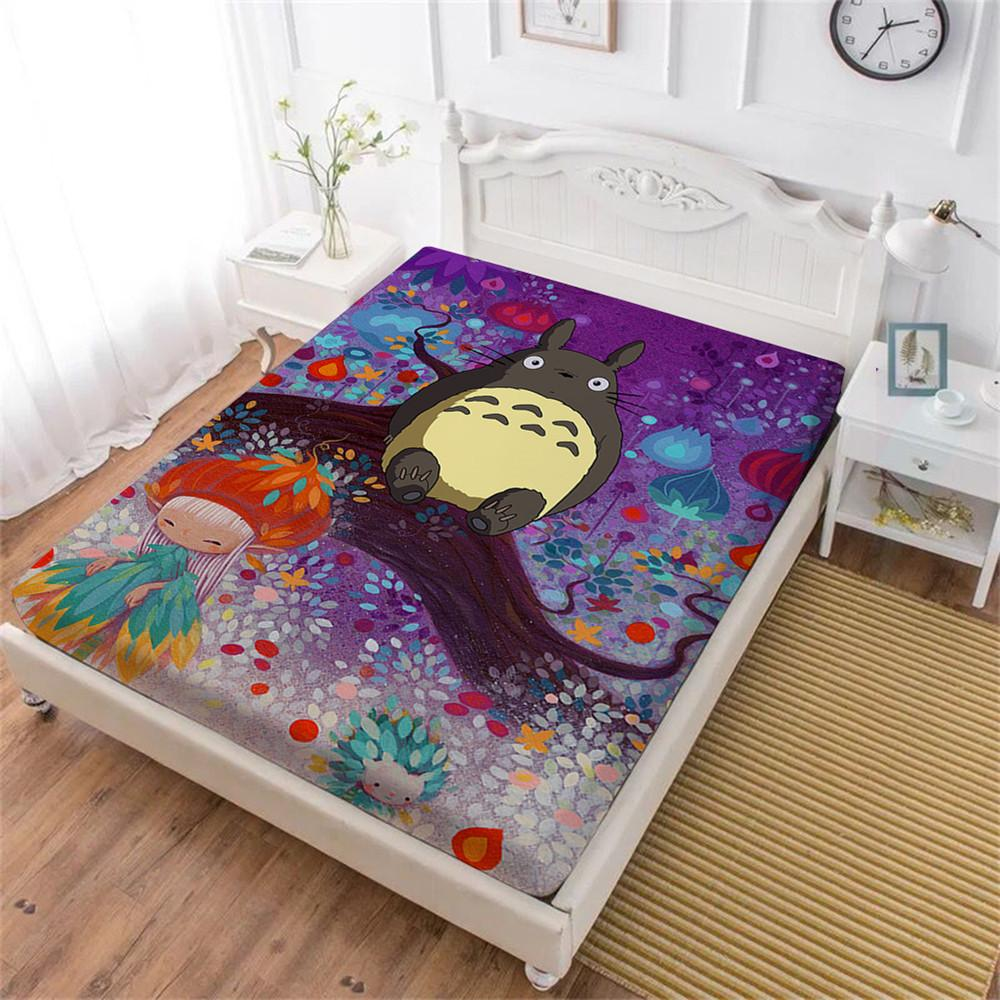 Colorful Cartoon Bed Sheet Totoro Natural Scenery Print Fitted Sheet King  Queen Bedding Kids Sheets Deep Pocket Home Textile D40 UK 2019 From  Pureairr 1dffcd274