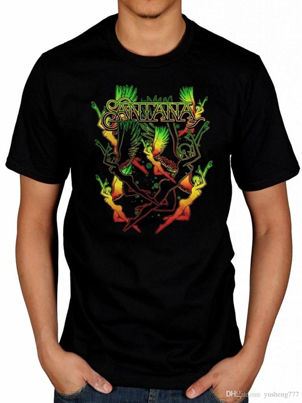 b567da78e Best T Shirt Sites Design Crew Neck Santana Dancing Angels T Shirt Latin  Rock Band Corazn Shape Shifter Abraxas Short Sleeve And T Shirts As Tee  Shirts From ...