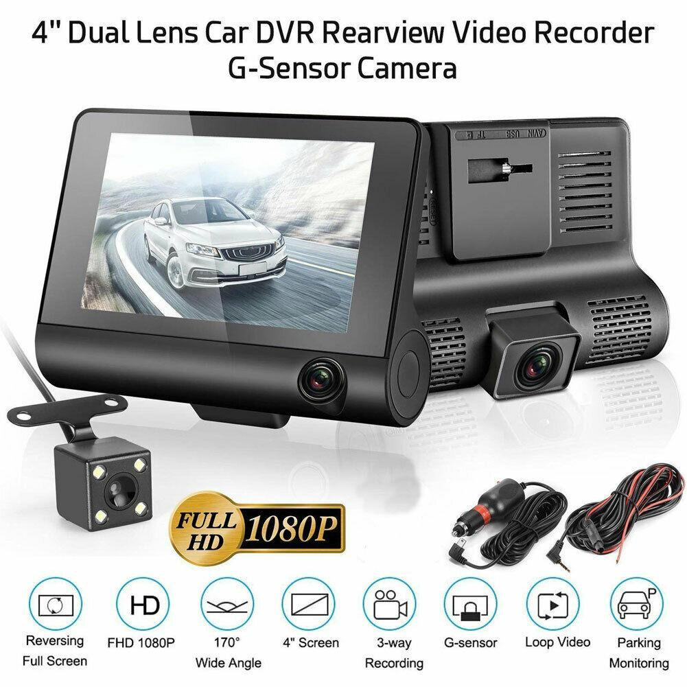 2020 Car DVR 3 Cameras Lens 4.0 Inch Dash Camera Dual Lens With Rearview Camera Video Recorder Auto Registrator Dvrs Dash Cam