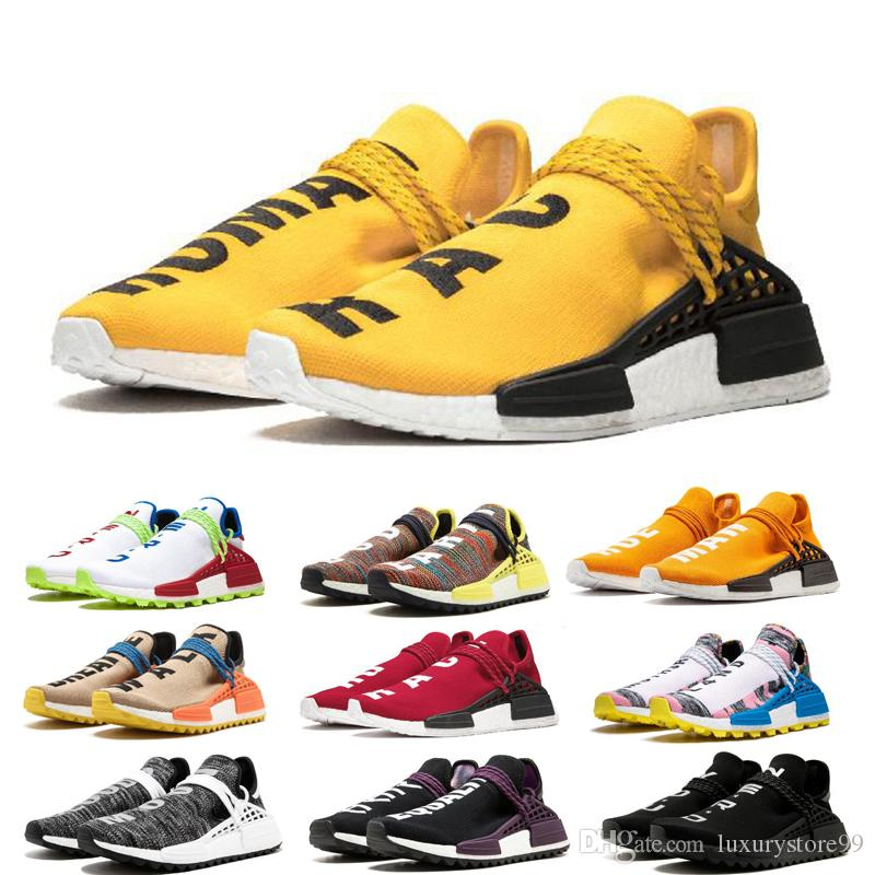 Razza umana BBC multi colore Pharrell Oreo Nobel inchiostro Mens scarpe da corsa di alta qualità Pharrell Williams Womens Designer Shoes Eur36-46 MZ-9