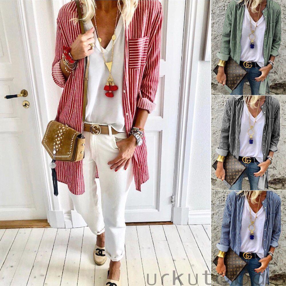 3d0ec10b420 2019 Women Shirts Button Down Striped Tops Office Long Sleeve Loose Long  Blouse T Shirt Casual Women Clothes Autumn From Caicaijin08, $27.39    DHgate.Com