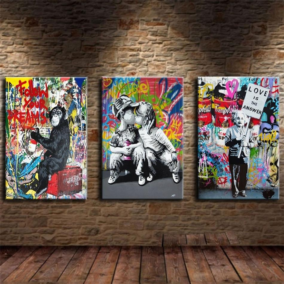 Monkey ,Love Couple Kissing ,Graffiti,3 Pieces Home Decor HD Printed Modern Art Painting on Canvas (Unframed/Framed) 16x24x3.