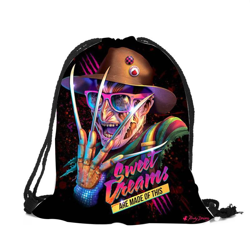 Horrorible Killers Backpack Horror Movie Character Printed Teenager Boys Girls String Bag Children School Student Book Package