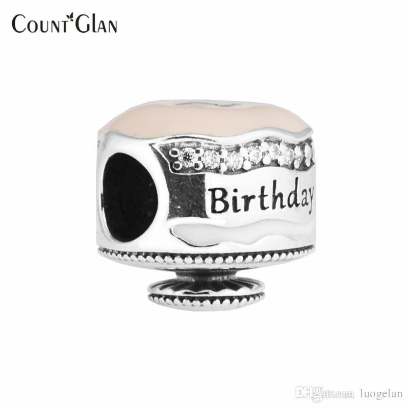 Fits Pandora Bracelet Charms Beads for Jewelry Making Happy Birthday Cake Silver Charm Sterling-Silver-Jewelry DIY Beads
