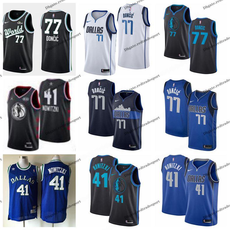 wholesale dealer 6ec14 b3c99 2019 Earned #77 Dallas Dirk Nowitzki Luka Doncic Mavericks Edition  Basketball Jerseys City Luka Doncic World All Stars Edition Shirts S-XXL