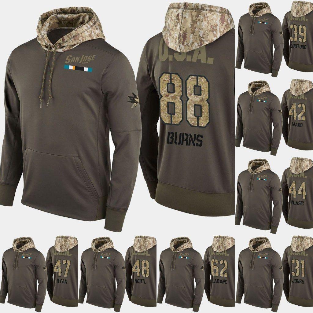4d2e8c9ebb67a9 2019 San Jose Sharks Salute To Service Hoodies 88 Brent Burns 30 Aaron Dell  31 Martin 61 Justin Braun Jones Hockey Sweatershirt Jerseys From  Projerseysword, ...