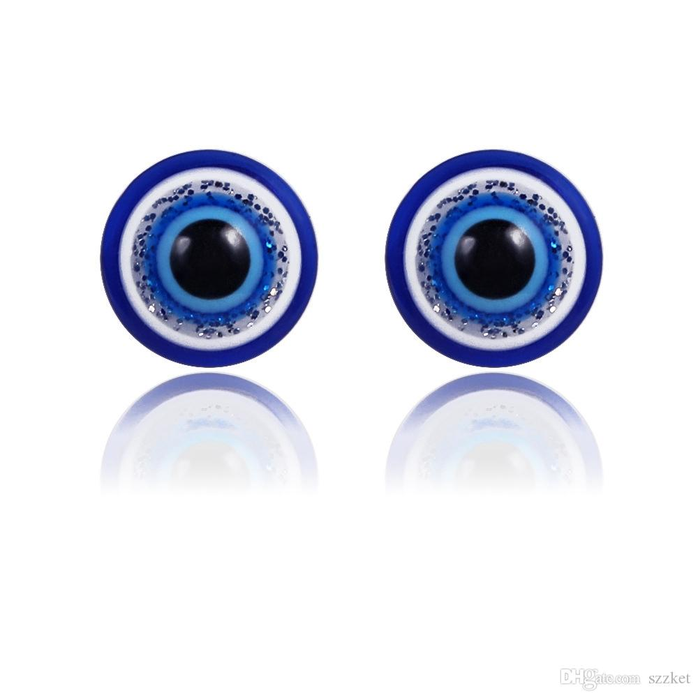European and American fashion magnet blue eye earrings Unisex ear clips without ear hole magnet stone earrings female 9-A01136
