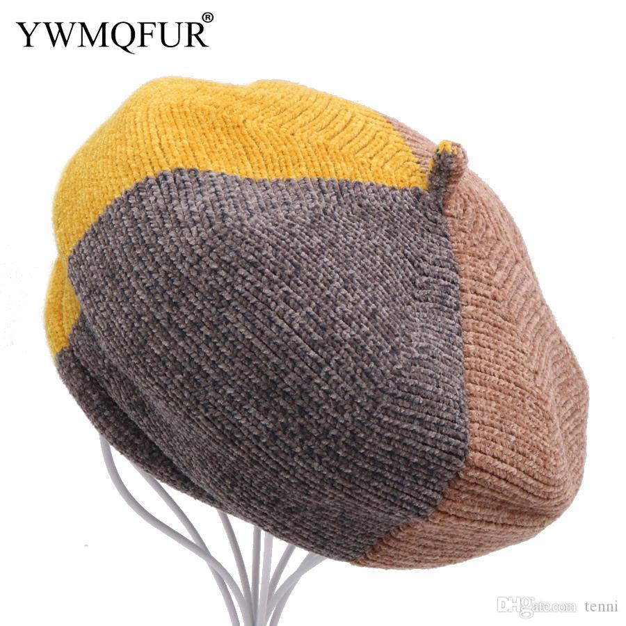 28988435fb593 YWMQFUR Winter Vintage Knit Women Berets Caps Warm Lady Skullies Hats  Classic Female Patchwork Beanies Beret 2018 New Arrival Berets Cheap Berets  YWMQFUR ...