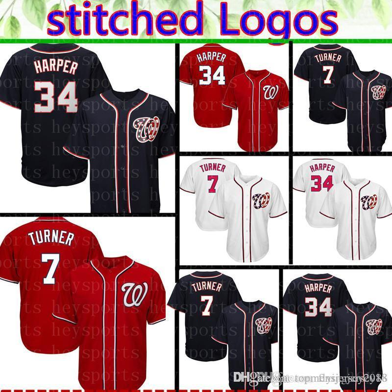 premium selection 98db4 9f96c Nationals 34 Bryce Harper Jersey Mens 7 Trea Turner Embroidery Baseball  Jerseys Cheap wholesale Free Shipping