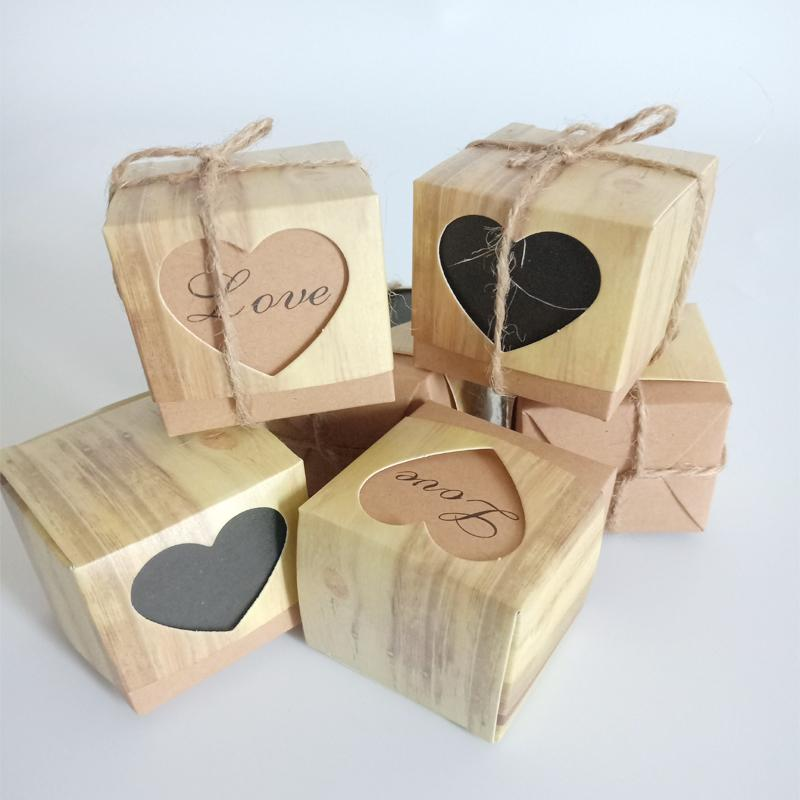 Romantic love heart Kraft Paper Candy Gift Box Wedding Candy Box with Burlap Packaging Bags Square & Party for guest