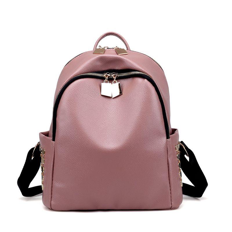 1c3049f9b26 Little Women PU Leather Backpack Rivet Casual Lady Shoulder Bag Girls  Teenagers School Bag mochila Work Office Travel Daypacks