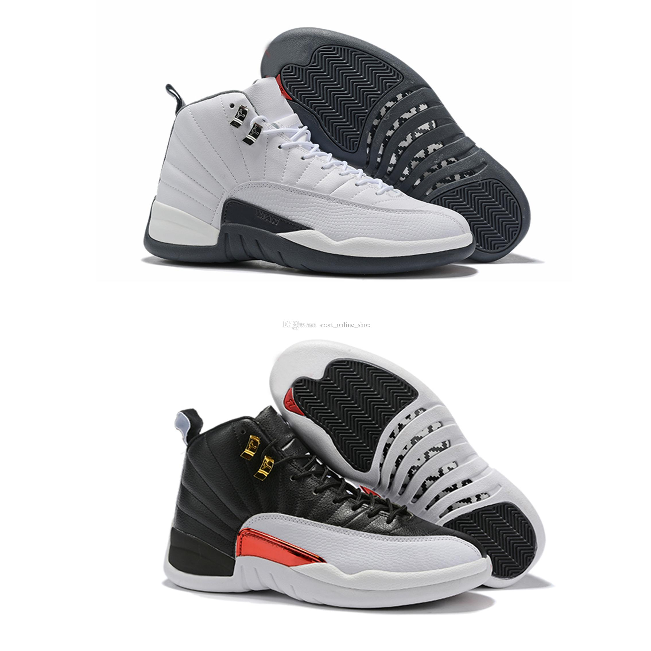size 40 741cb 67d2e High Quality 2019 New Reverse Taxi 12s Men basketball shoes 12 White Black  Gold Designer outdoor Sports Sneakers With Shoes Box