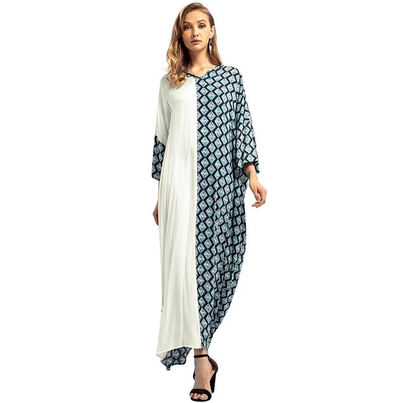 b9f3552e8e87 Compre Mulheres Étnica Casual Solto Vestido Muçulmano 3/4 Mangas Patchwork  Do Vintage Robe Femme Maxi Oriente Abaya Vestidos De Outono Longo Vestido  ...