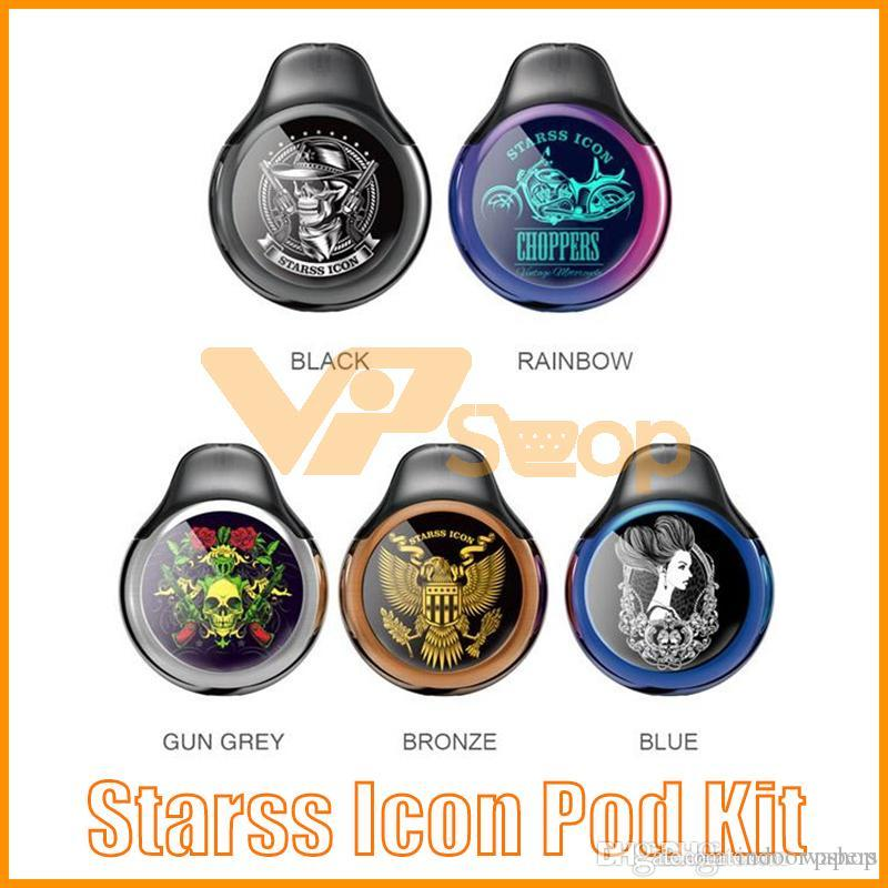 Authentic Starss Icon Pod Kit de démarrage 380mAh Portable Vape Pod System E Kits de cigarettes avec 2 ml de cartouches vides 100% d'origine