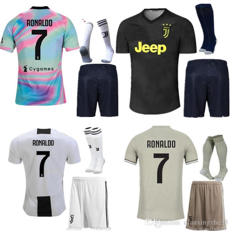 6f4c2d4602d 2018 2019 Adult JUVENTUS Soccer Sets 18 19 JUVE Home RONALDO Soccer ...