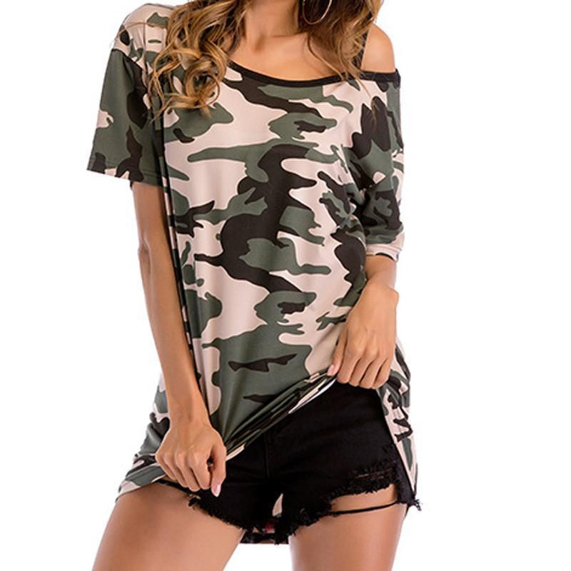 0680dcde7954e5 Plus Size Summer Womens T Shirts Short Sleeve Slash Neck Camouflage Tshirts  Female Loose Tee 2019 Casual Off Shoulder Top GV818 Cool Tee Shirt T Shirt  ...