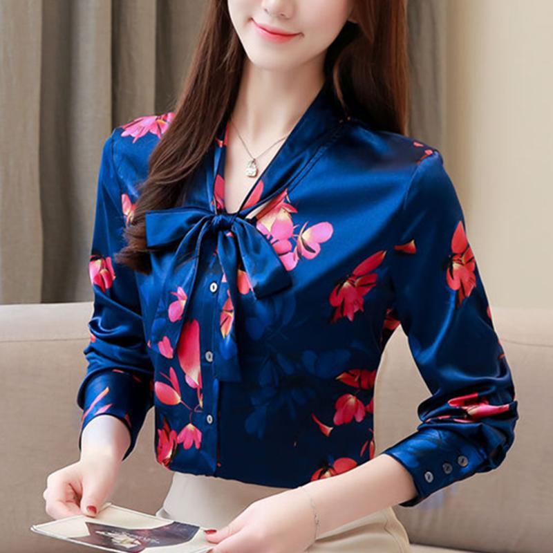 on sale b4371 37a33 Top e camicette da donna Camicetta di seta Camicie a maniche lunghe da  donna Abbigliamento coreano di moda Blusas Femininas Elegante Plus Size XXXL