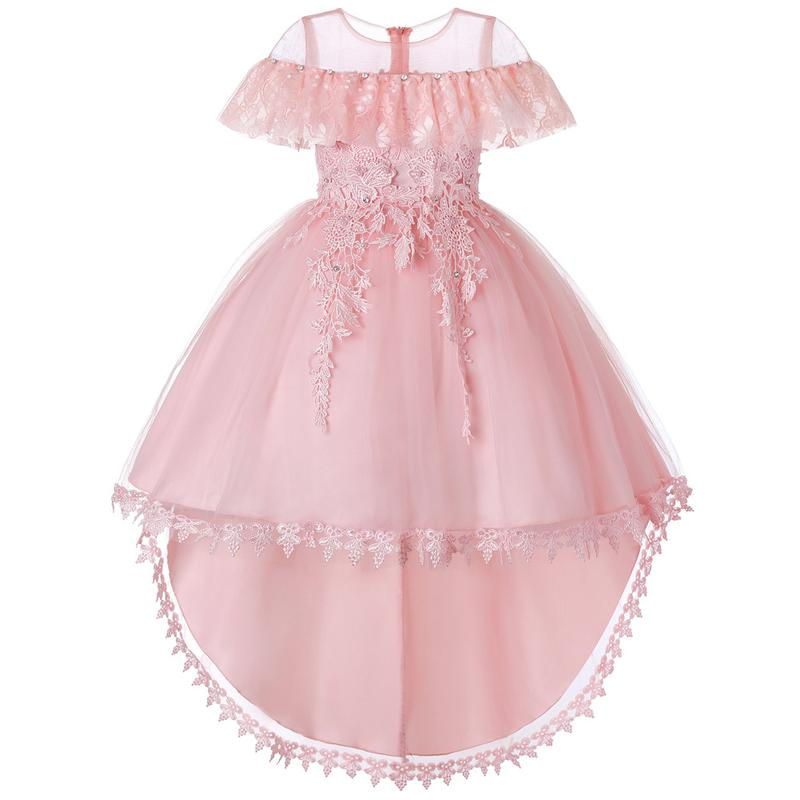 1544ad20d8 Compre Vestido De Niña Elegante De Encaje Para Niños Princesa Vestidos De Fiesta  Para Niñas Trajes De Cumpleaños Vestidos Fiesta De Noche Chicas Ropa Formal  ...
