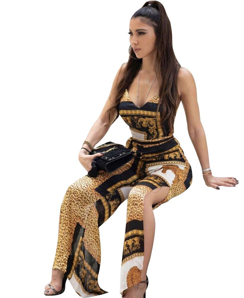 European and American women's pants sexy Leopard printing Rompers