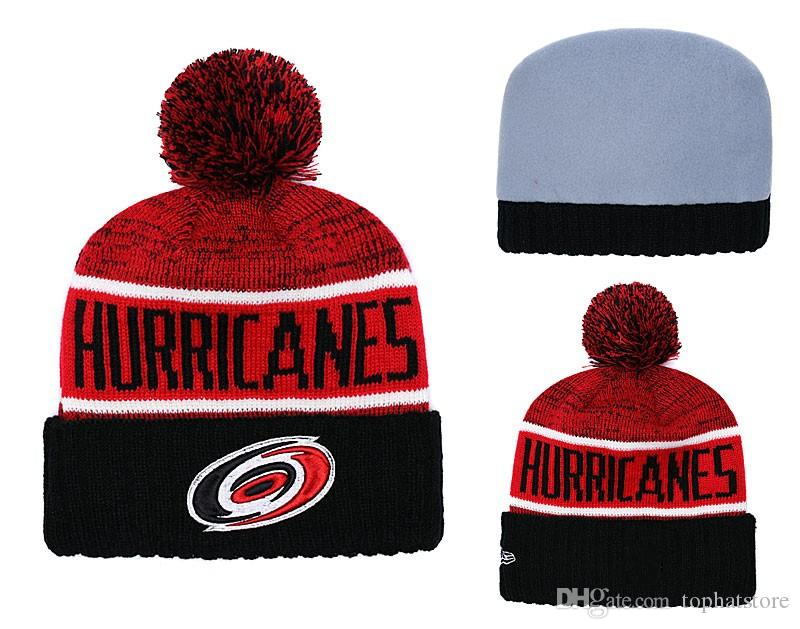 NEW Men S Hurricanes Red Black Color Knitted Cuffed Pom Beanie Hats Striped  Sideline Hockey Teams Beanie Cap Bonnet Winter Beanies Skul Beanies For  Girls ... 12246b37b3b