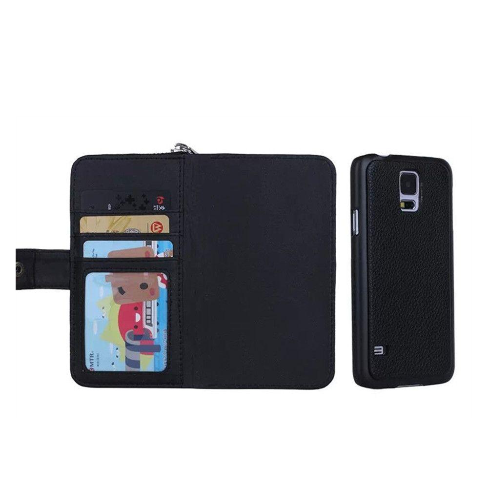 79cf1238d30fb Satın Al Siyah Ayrılabilir Case Arka Ile Cüzdan Deri Kılıf Fermuar Kart  Sahipleri Kordon Kılıfları Samsung S4 S5 Note4 Coin Çantalar Ile Kapak, ...