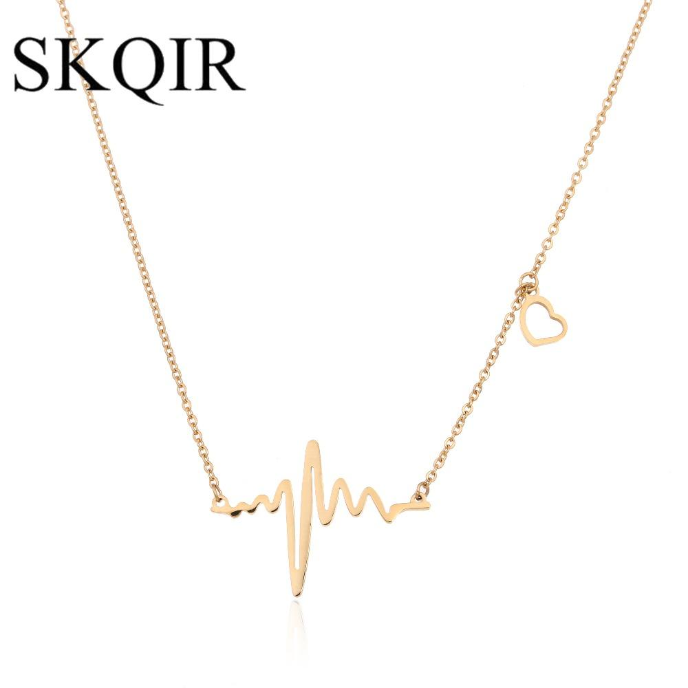 SKQIR Medical Heartbeat Jewelry Sets para mujeres Doctor Regalo Oro / Plata Acero inoxidable Collar / Pulsera / Pendientes Conjunto de joyas
