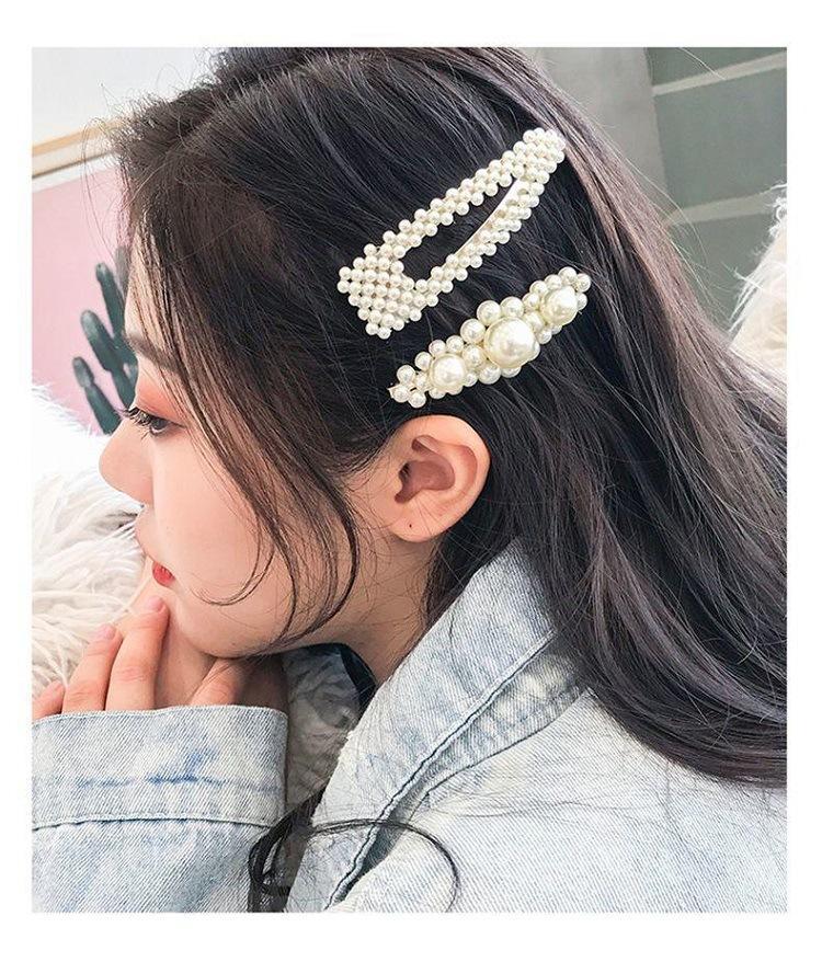 aspect esthétique Nouvelle liste grande remise Perle per capelli con perle piene per le donne Moda dolce imitazione perni  di capelli stile coreano in lega BB Hairgrip Accessori per le ragazze da ...