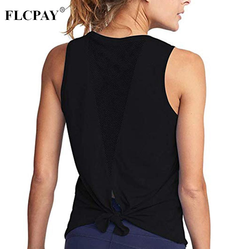 5a66521192ec50 2019 Women Yoga Tops Mesh Shirts Activewear Sexy Open Back Sports Tank Tops  Workout Fitness Clothes From Yarqi