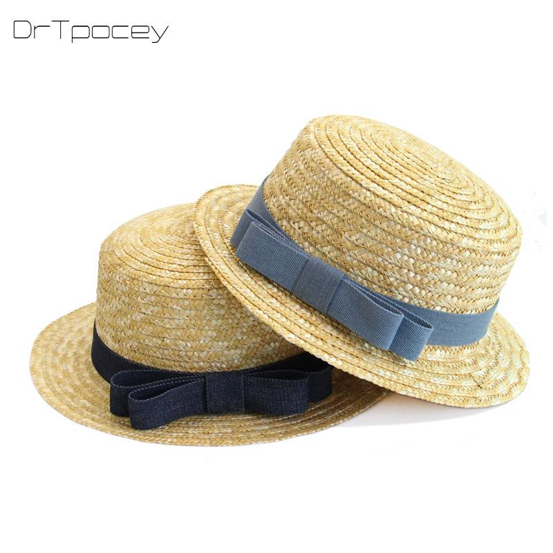 6c7088af Fashion Lady Boater Sun Caps Ribbon Round Flat Top Straw Beach Hat Panama  Hat Summer Hats For Women Straw Snapback Gorras Beach Hats Sun Hats For  Women From ...