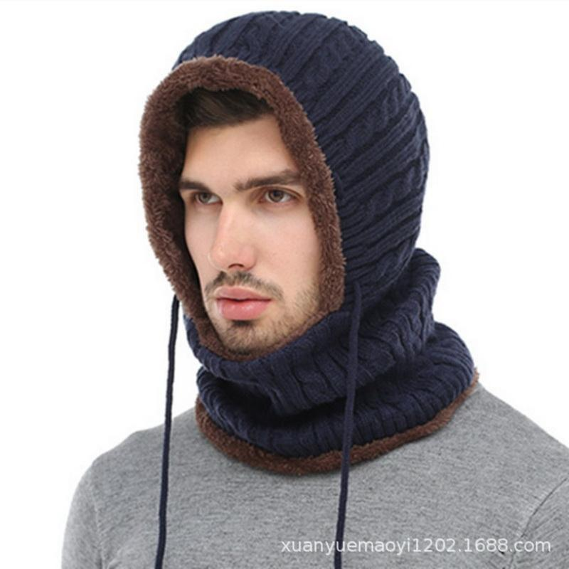 1c00b725b50 Women Men Hat Dual-purpose Cashmere Thick Warm Winter Knitted Hooded ...