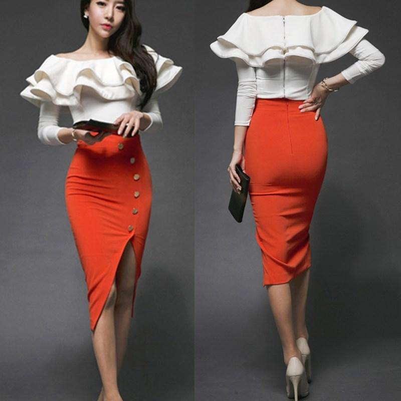 90ab72a9c39 OL Women Spring Elegant Skirt Set Slash Neck Big Wave Ruffles ...