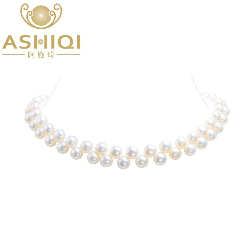 Ashiqi Handmade Real Freshwater Pearl Chokers Necklaces 36+5cm 925 Silver Clasp 7-8mm Natural Pearl Bohemian Jewelry For Women J 190429